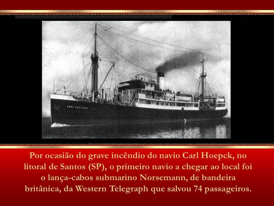 Todos os navios da Western, no Brasil, eram comandados por Londres, onde ficava a sede da companhia. Navio Cabo Mercury