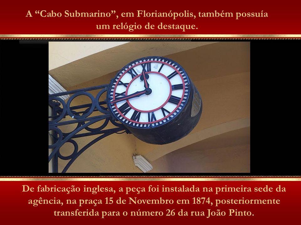 A Western Telegraph Company implantou, a partir de 1873, redes de telégrafo em 14 cidades brasileiras. Em Santos, a agência ostentava o famoso relógio