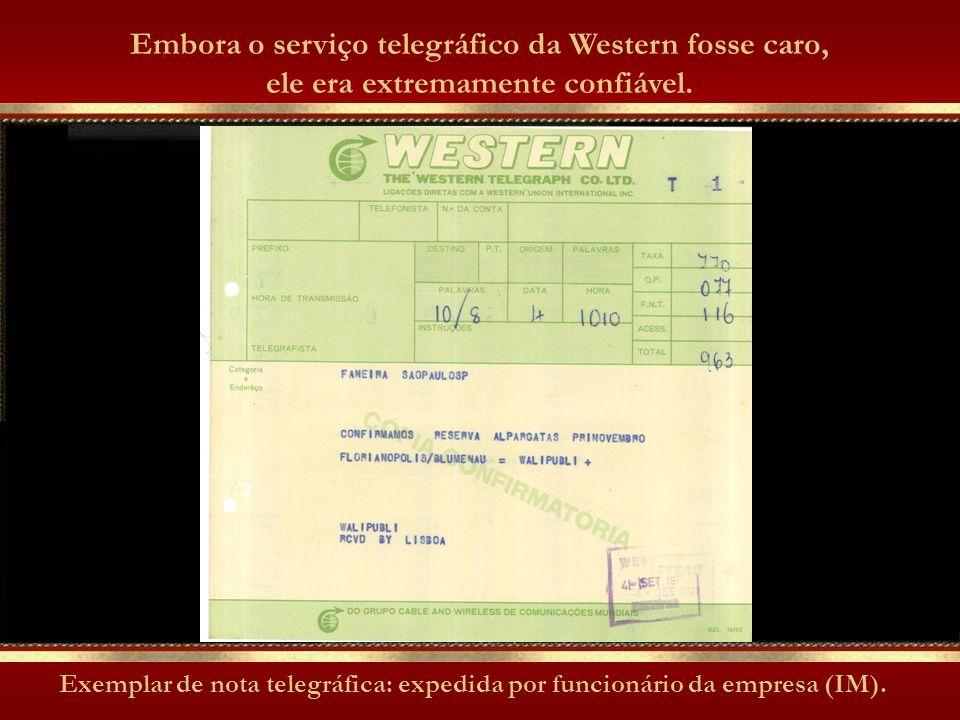 Sala da WTC, em Florianópolis, com os equipamentos telegráficos. Ao longo de quase um século, a agência da Western, dirigida a mão-de-ferro pelos ingl