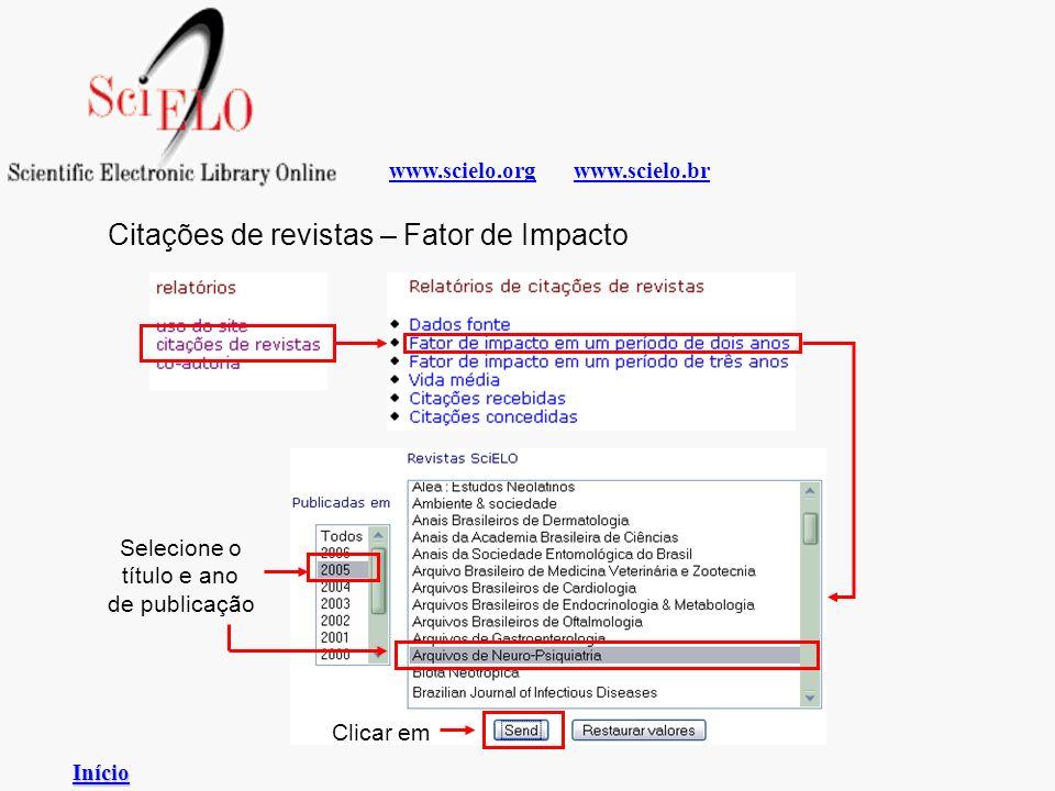www.scielo.brwww.scielo.org Citações de revistas – Fator de Impacto Selecione o título e ano de publicação Clicar em Início