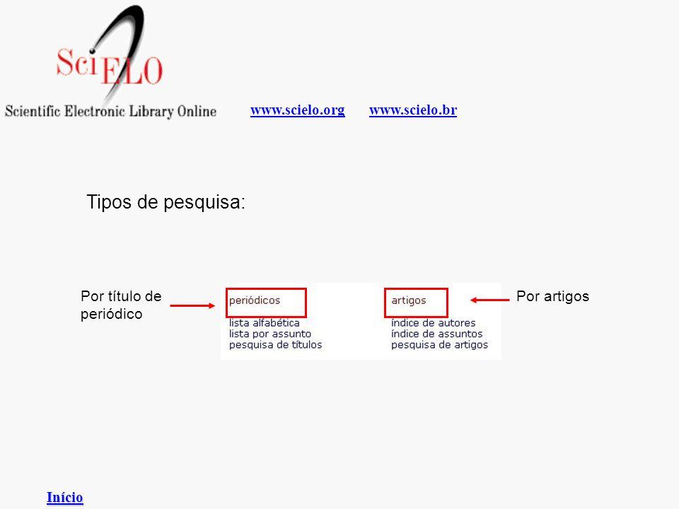 www.scielo.brwww.scielo.org Tipos de pesquisa: Por título de periódico Por artigos Início