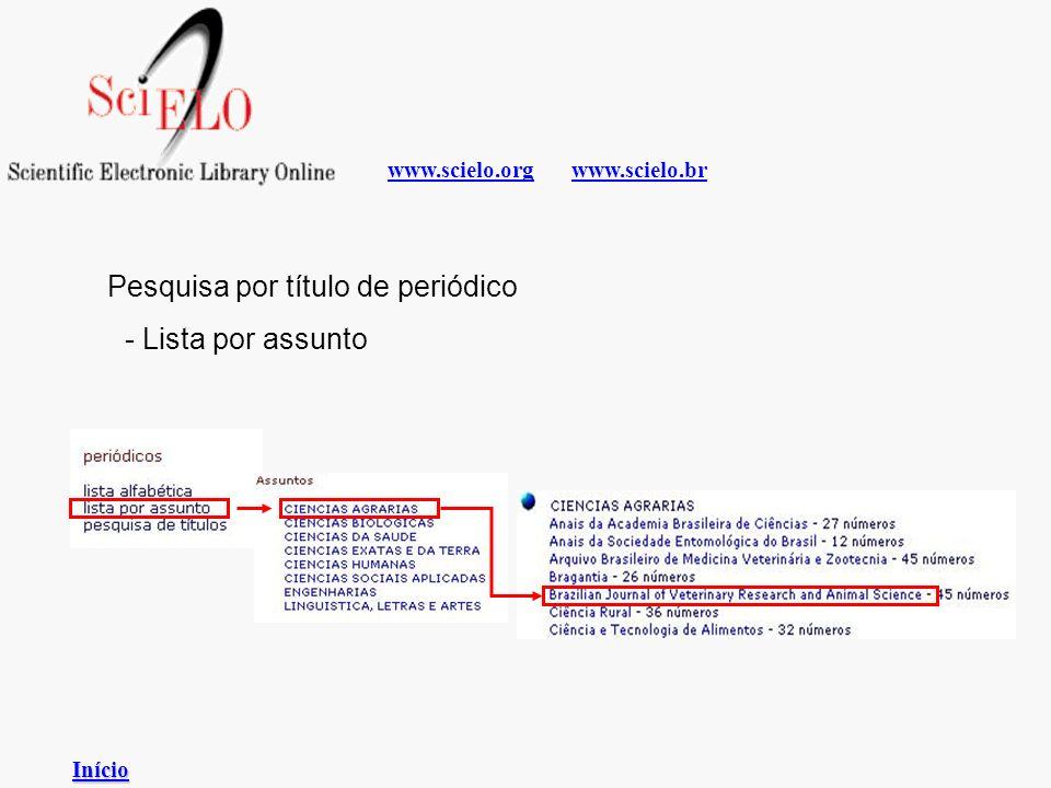 www.scielo.brwww.scielo.org - Lista por assunto Pesquisa por título de periódico Início