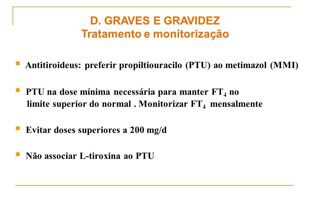 Antitiroideus: preferir propiltiouracilo (PTU) ao metimazol (MMI) D. GRAVES E GRAVIDEZ Tratamento e monitorização PTU na dose mínima necessária para m