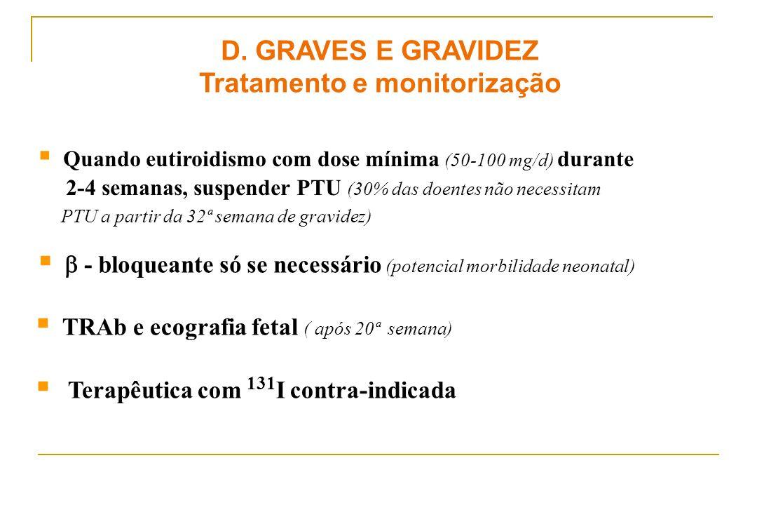- bloqueante só se necessário (potencial morbilidade neonatal) TRAb e ecografia fetal ( após 20ª semana) Terapêutica com 131 I contra-indicada D. GRAV