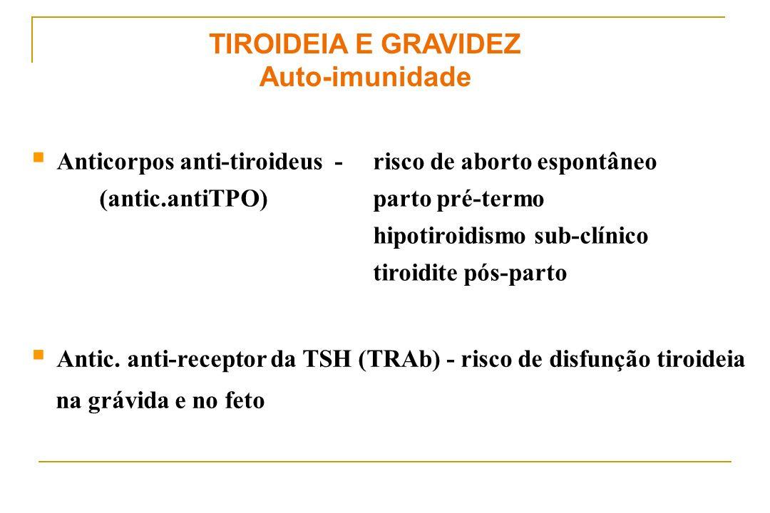 TIROIDEIA E GRAVIDEZ Auto-imunidade Anticorpos anti-tiroideus - risco de aborto espontâneo (antic.antiTPO)parto pré-termo hipotiroidismo sub-clínico t