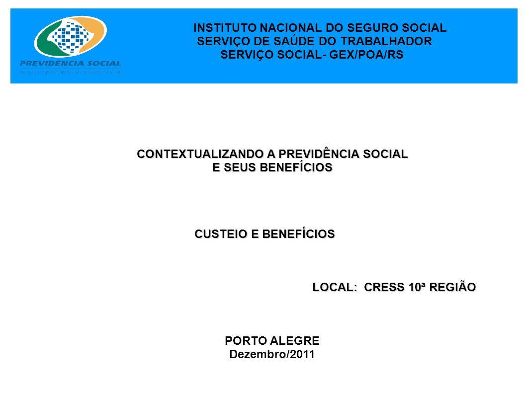 INSTITUTO NACIONAL DO SEGURO SOCIAL SERVIÇO DE SAÚDE DO TRABALHADOR SERVIÇO SOCIAL- GEX/POA/RS CONTEXTUALIZANDO A PREVIDÊNCIA SOCIAL E SEUS BENEFÍCIOS