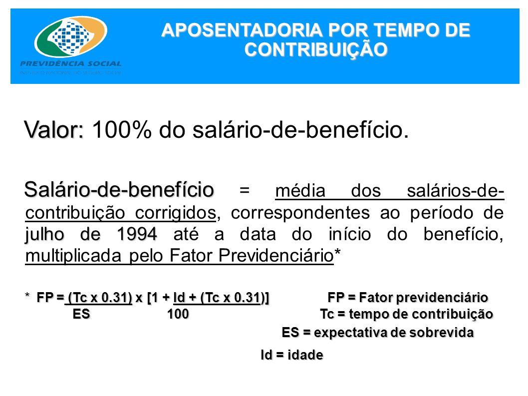 APOSENTADORIA POR TEMPO DE CONTRIBUIÇÃO Valor: Valor: 100% do salário-de-benefício. Salário-de-benefício julho de 1994 Salário-de-benefício = média do