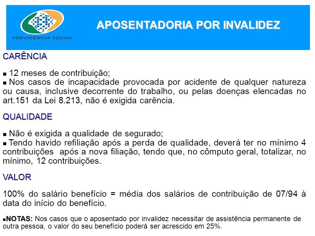 APOSENTADORIA POR INVALIDEZ CARÊNCIA 12 meses de contribuição; Nos casos de incapacidade provocada por acidente de qualquer natureza ou causa, inclusi