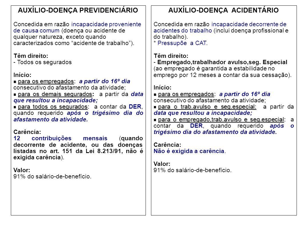 AUXÍLIO-DOENÇA PREVIDENCIÁRIO Concedida em razão incapacidade proveniente de causa comum (doença ou acidente de qualquer natureza, exceto quando carac