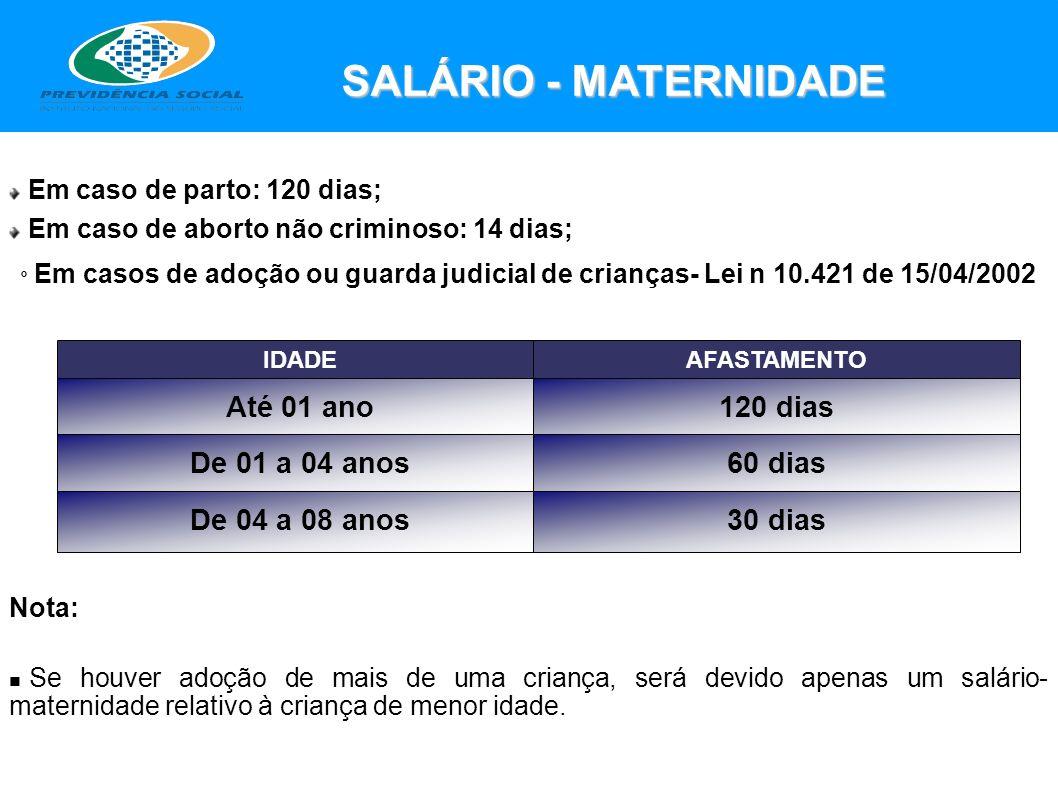 SALÁRIO - MATERNIDADE IDADEAFASTAMENTO Até 01 ano De 01 a 04 anos 120 dias 60 dias De 04 a 08 anos30 dias Nota: Se houver adoção de mais de uma crianç