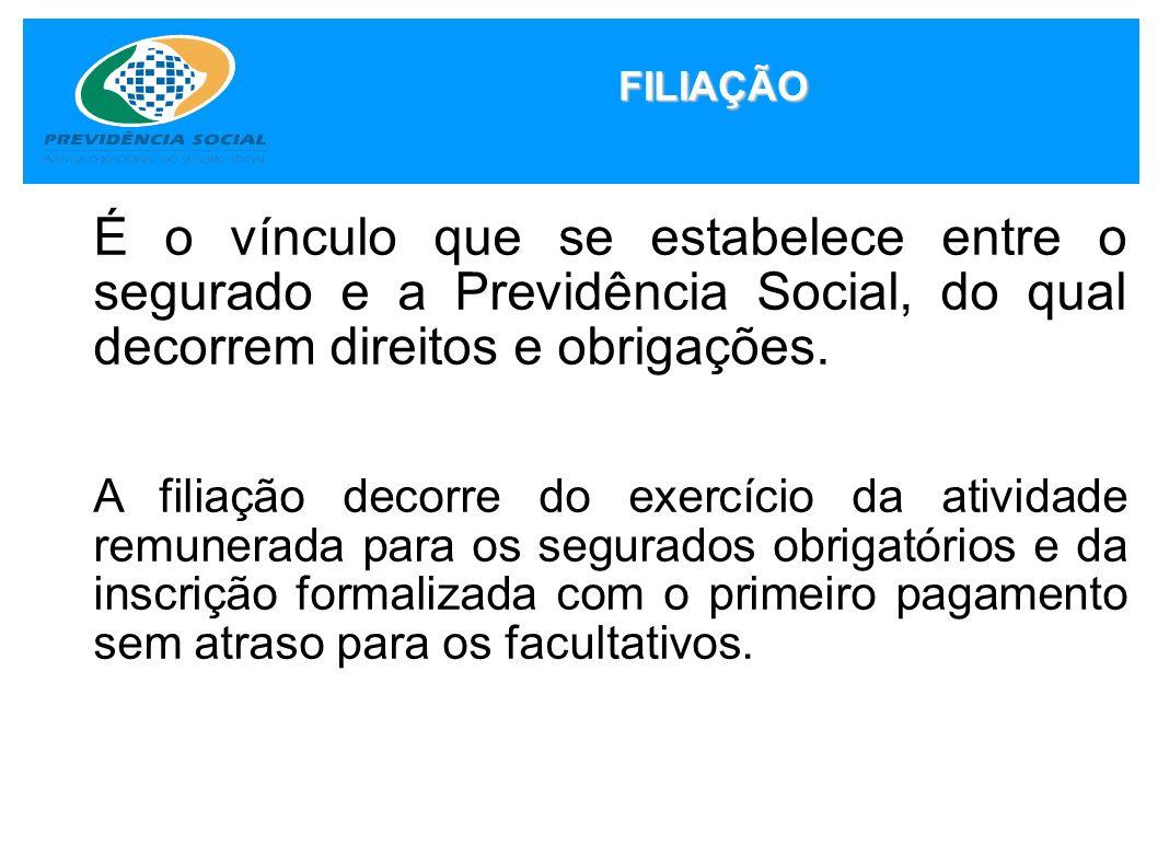 É o vínculo que se estabelece entre o segurado e a Previdência Social, do qual decorrem direitos e obrigações. A filiação decorre do exercício da ativ