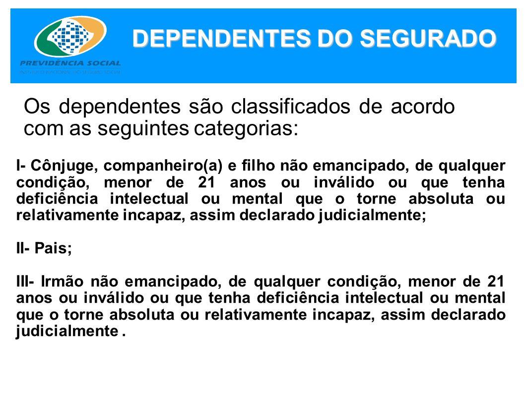 DEPENDENTES DO SEGURADO Os dependentes são classificados de acordo com as seguintes categorias: I- Cônjuge, companheiro(a) e filho não emancipado, de
