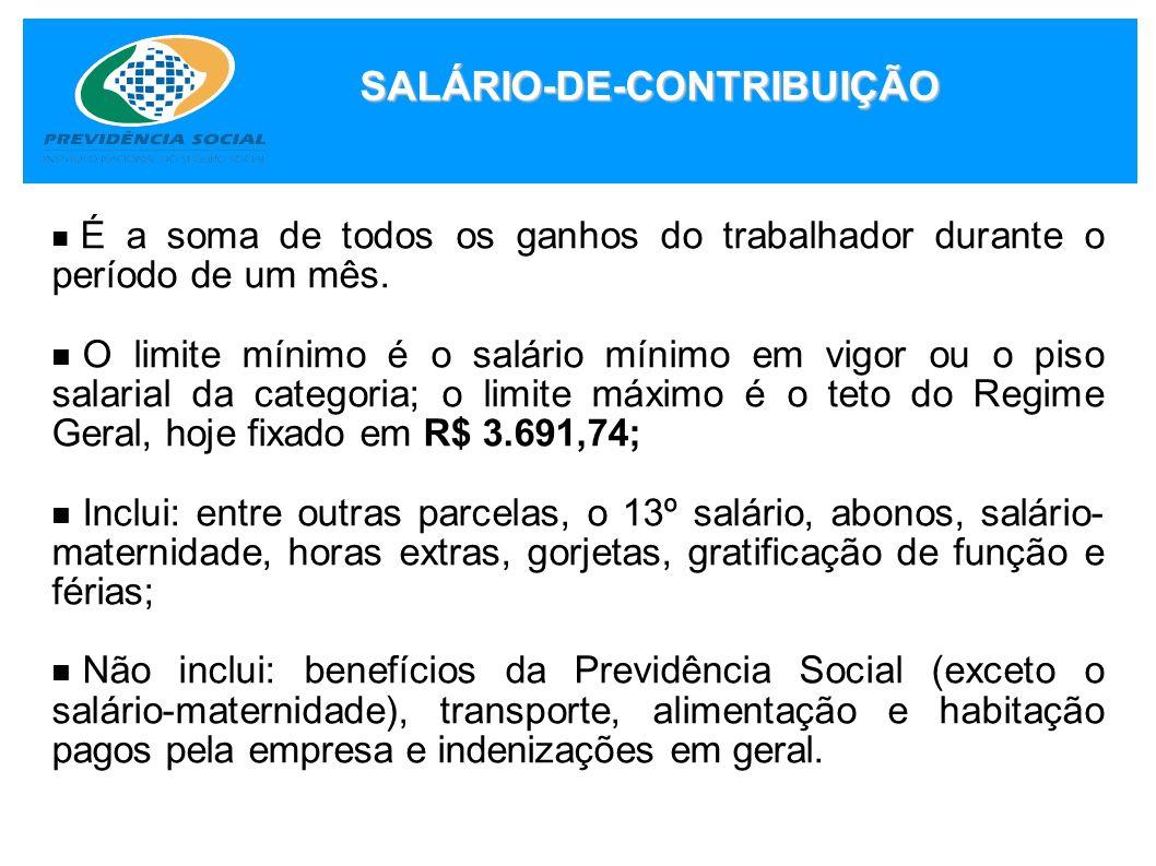 APOSENTADORIA ESPECIAL CARÊNCIA 180 CONTRIBUIÇÕES MENSAIS 15 ANOS QUALIDADE DE SEGURADO NÃO SERÁ EXIGIDA (Lei 10.666, de 08/05/2003) VALOR 100% DO SALÁRIO-DE-BENEFÍCIO = Média dos salários de contribuição desde 07/94 até a data do início do benefício.