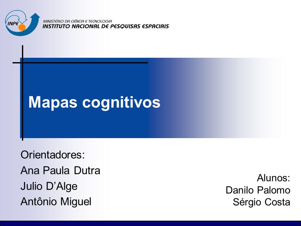 Mapas cognitivos Orientadores: Ana Paula Dutra Julio DAlge Antônio Miguel Alunos: Danilo Palomo Sérgio Costa