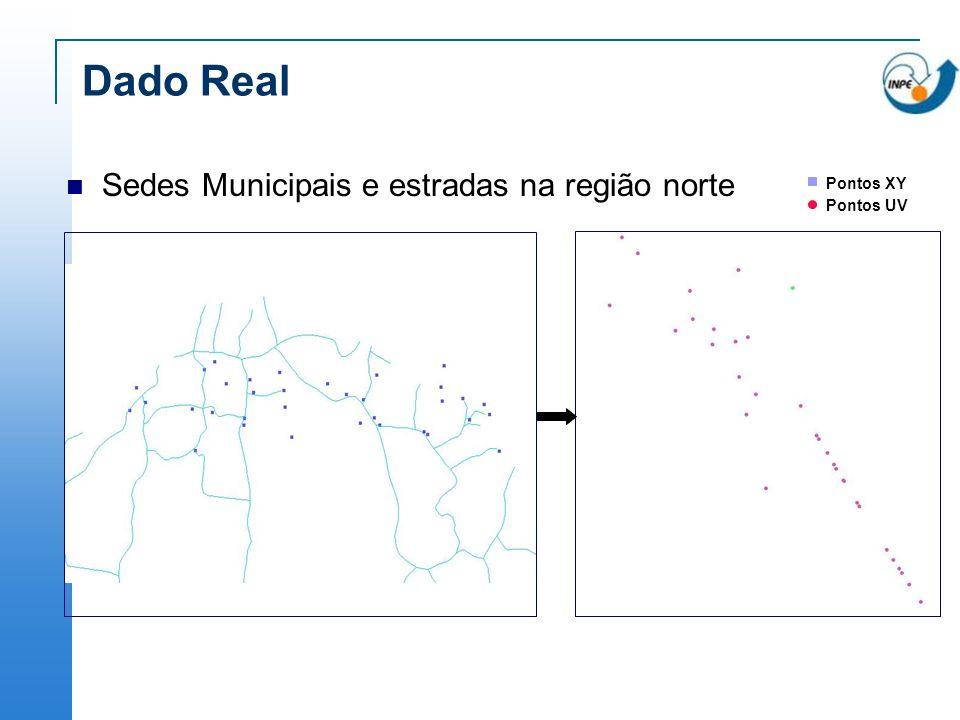 Dado Real Sedes Municipais e estradas na região norte Pontos XY Pontos UV