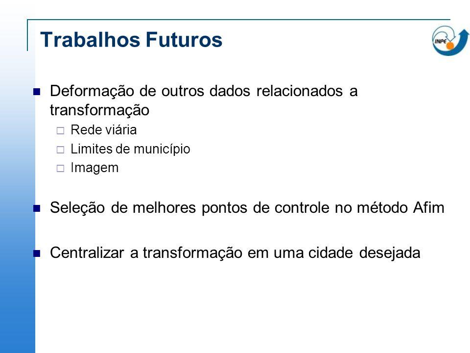 Trabalhos Futuros Deformação de outros dados relacionados a transformação Rede viária Limites de município Imagem Seleção de melhores pontos de contro