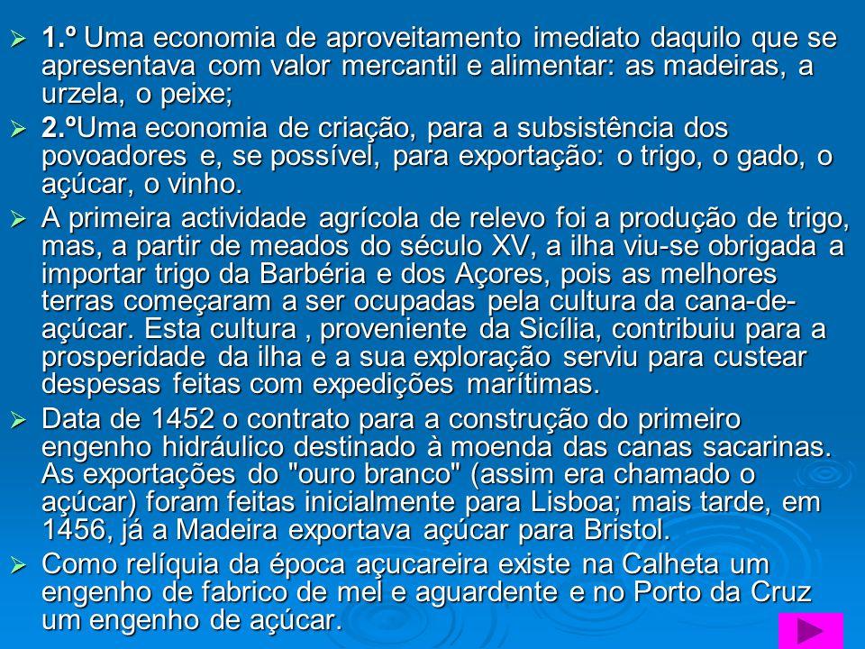 1.º Uma economia de aproveitamento imediato daquilo que se apresentava com valor mercantil e alimentar: as madeiras, a urzela, o peixe; 1.º Uma econom