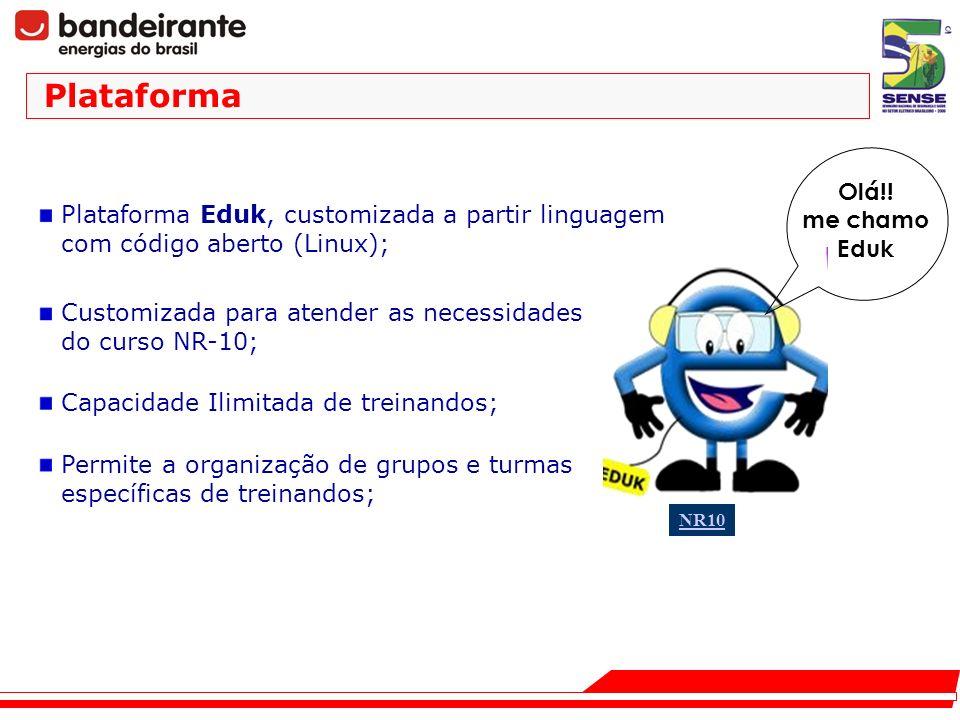Plataforma Olá!! me chamo Eduk NR10 Plataforma Eduk, customizada a partir linguagem com código aberto (Linux); Customizada para atender as necessidade