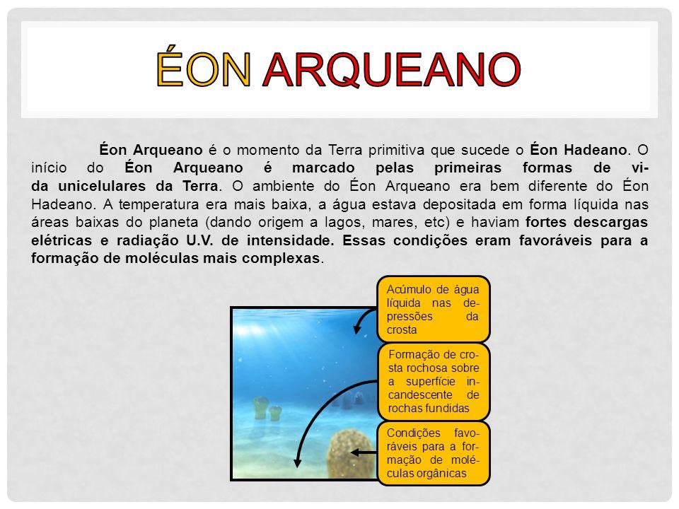 Éon Arqueano é o momento da Terra primitiva que sucede o Éon Hadeano. O início do Éon Arqueano é marcado pelas primeiras formas de vi- da unicelulares