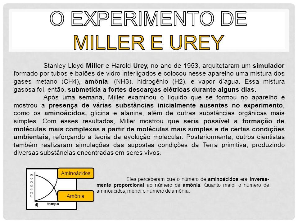 Stanley Lloyd Miller e Harold Urey, no ano de 1953, arquitetaram um simulador formado por tubos e balões de vidro interligados e colocou nesse aparelh