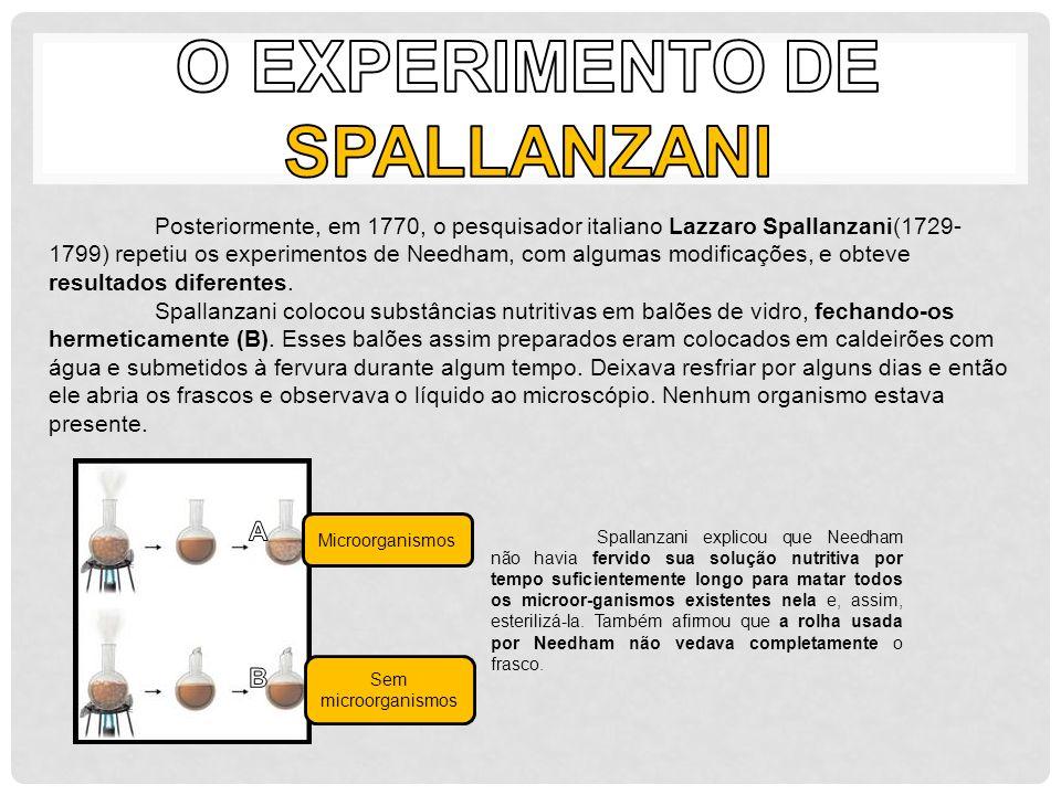 Posteriormente, em 1770, o pesquisador italiano Lazzaro Spallanzani(1729- 1799) repetiu os experimentos de Needham, com algumas modificações, e obteve