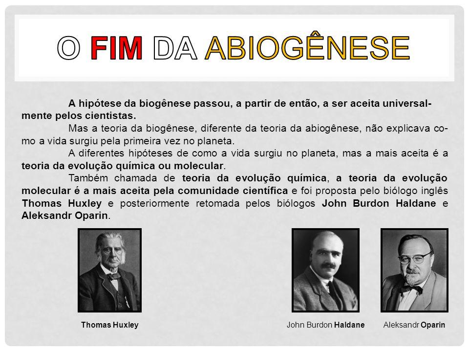 A hipótese da biogênese passou, a partir de então, a ser aceita universal- mente pelos cientistas. Mas a teoria da biogênese, diferente da teoria da a