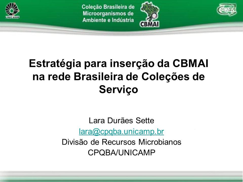 Estratégia para inserção da CBMAI na rede Brasileira de Coleções de Serviço Lara Durães Sette lara@cpqba.unicamp.br Divisão de Recursos Microbianos CP