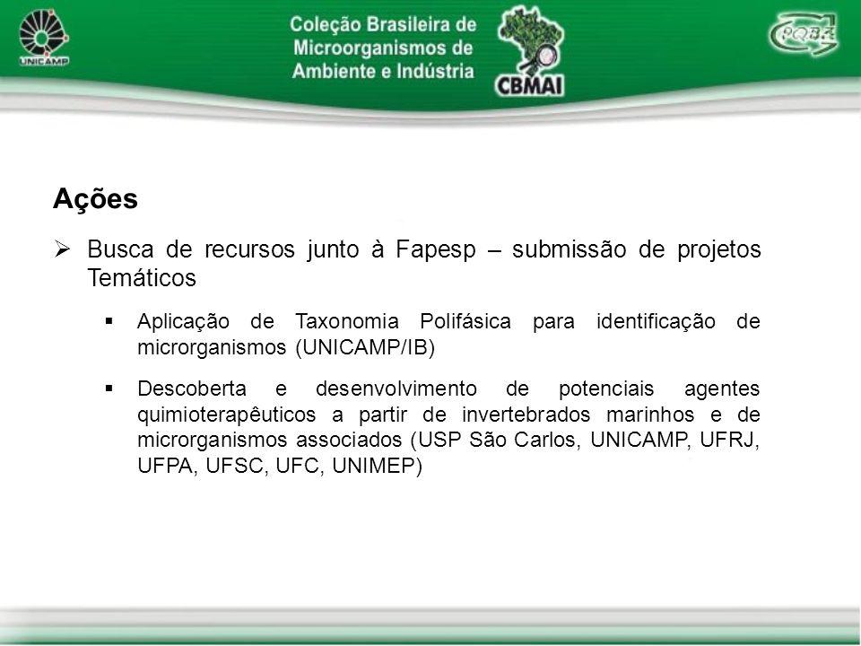 Ações Busca de recursos junto à Fapesp – submissão de projetos Temáticos Aplicação de Taxonomia Polifásica para identificação de microrganismos (UNICA