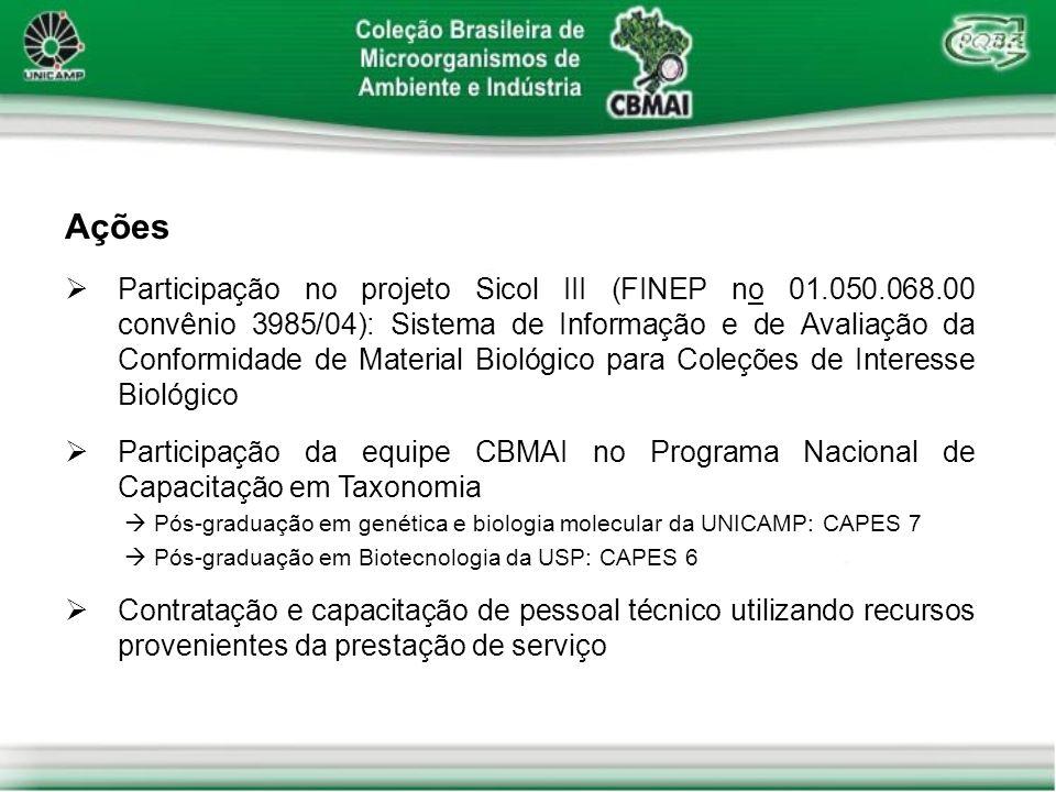 Ações Participação no projeto Sicol III (FINEP no 01.050.068.00 convênio 3985/04): Sistema de Informação e de Avaliação da Conformidade de Material Bi