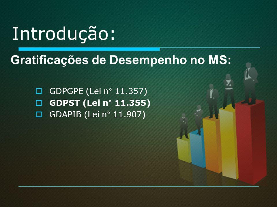 Introdução: GDPGPE (Lei n° 11.357) GDPST (Lei n° 11.355) GDAPIB (Lei n° 11.907) Gratificações de Desempenho no MS: