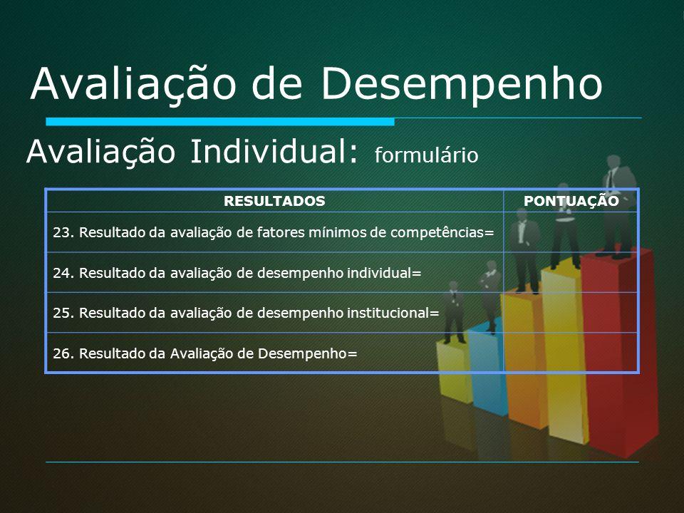 Avaliação de Desempenho RESULTADOSPONTUAÇÃO 23. Resultado da avaliação de fatores mínimos de competências= 24. Resultado da avaliação de desempenho in