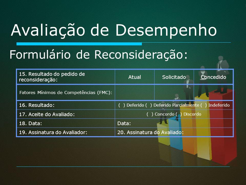 Avaliação de Desempenho Formulário de Reconsideração: 15. Resultado do pedido de reconsideração: AtualSolicitadoConcedido Fatores Mínimos de Competênc