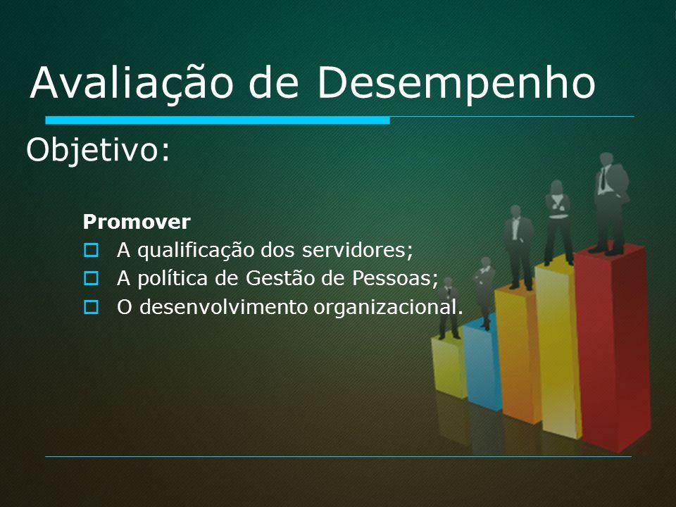 Promover A qualificação dos servidores; A política de Gestão de Pessoas; O desenvolvimento organizacional. Objetivo: Avaliação de Desempenho