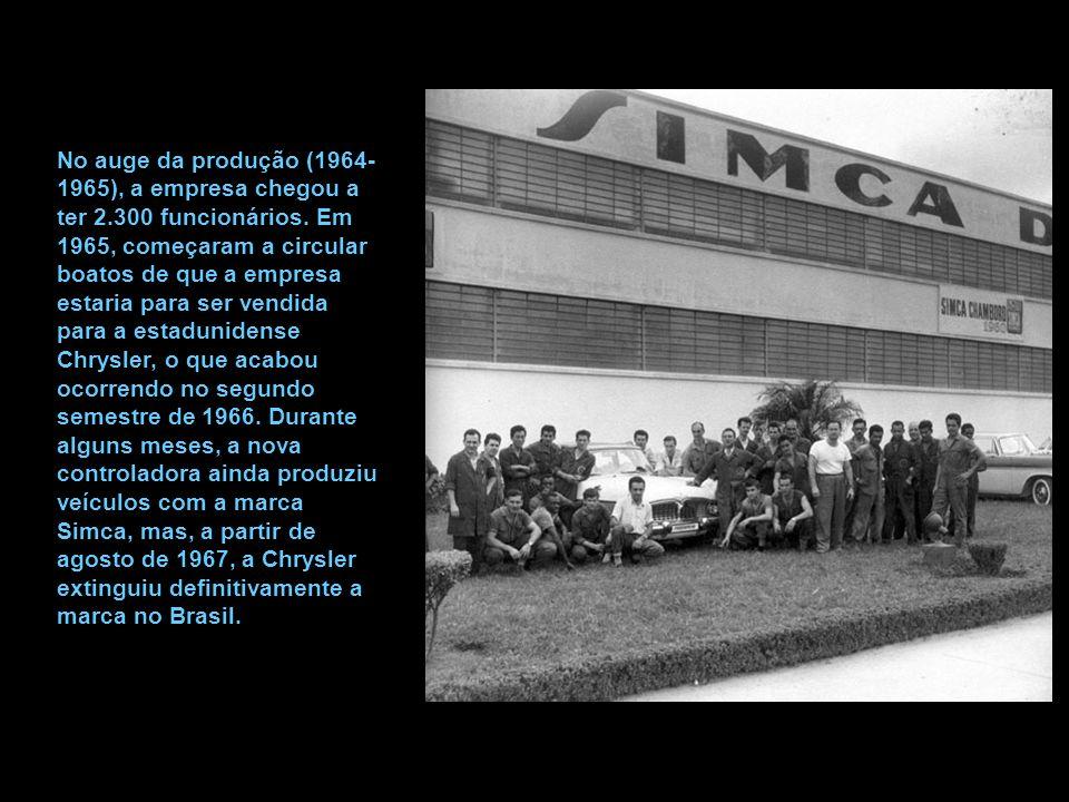 No auge da produção (1964- 1965), a empresa chegou a ter 2.300 funcionários.