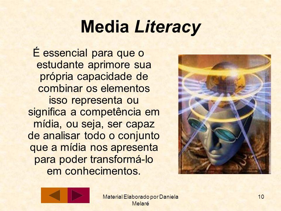 Material Elaborado por Daniela Melaré 10 Media Literacy É essencial para que o estudante aprimore sua própria capacidade de combinar os elementos isso