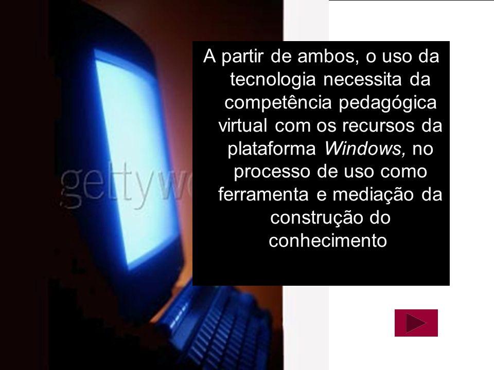 Material Elaborado por Daniela Melaré 12 A partir de ambos, o uso da tecnologia necessita da competência pedagógica virtual com os recursos da platafo