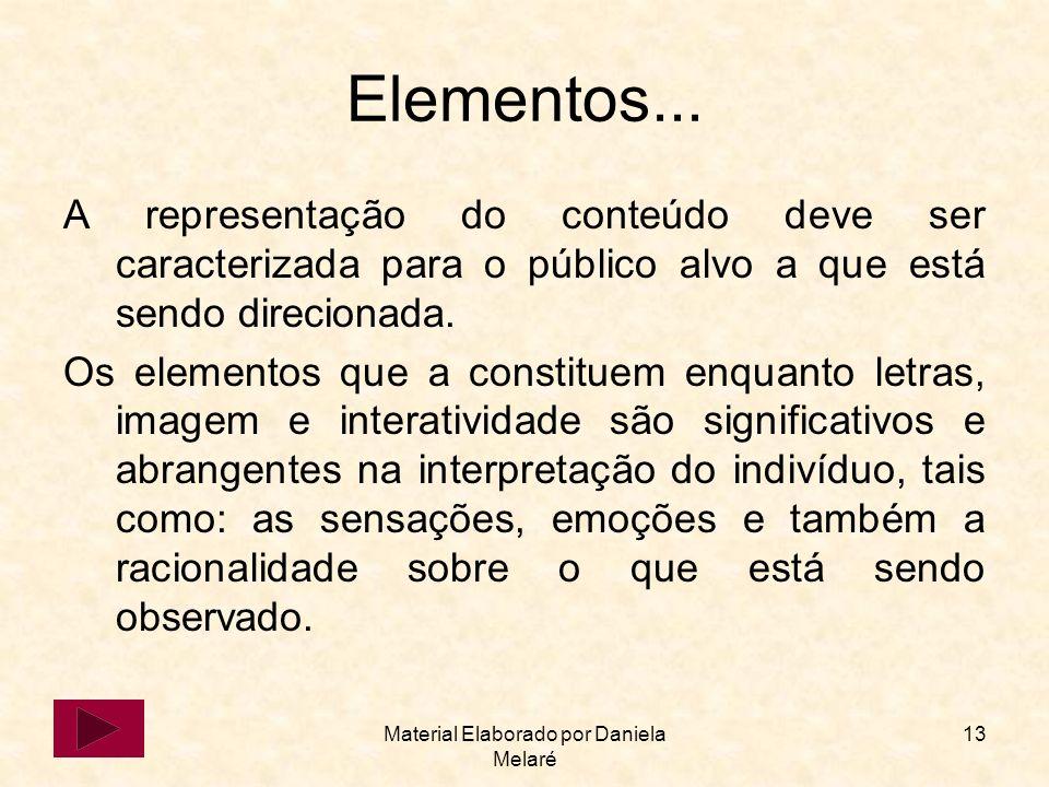 Material Elaborado por Daniela Melaré 13 Elementos... A representação do conteúdo deve ser caracterizada para o público alvo a que está sendo direcion
