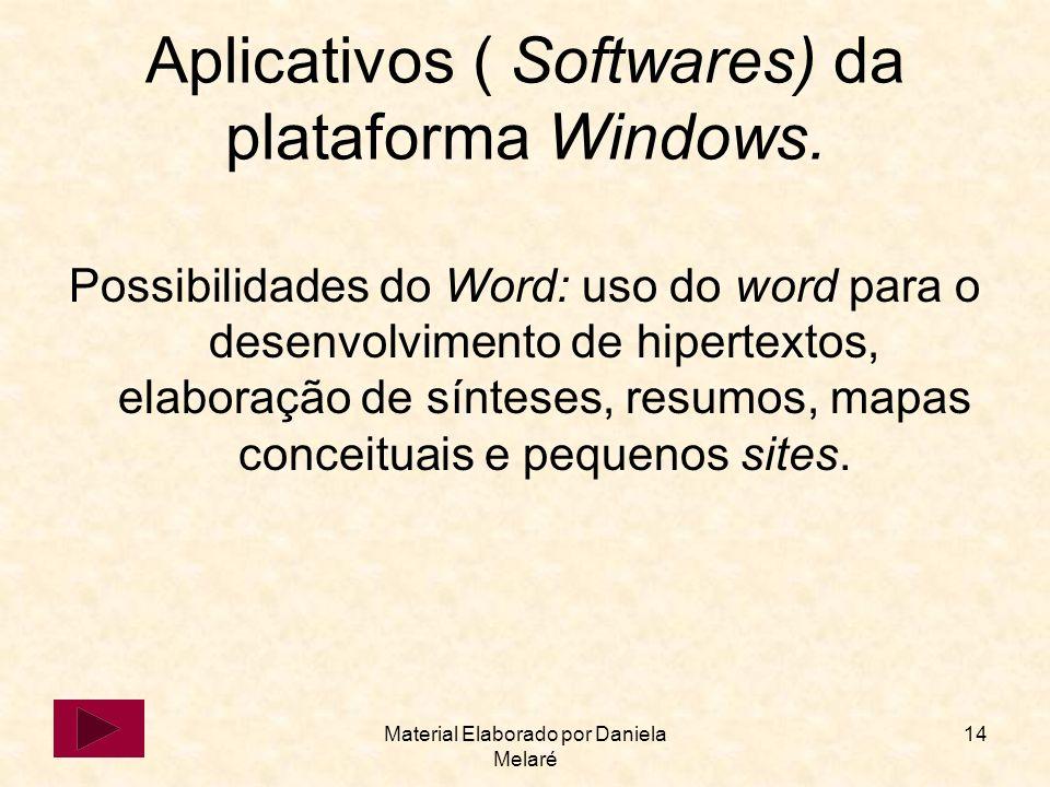 Material Elaborado por Daniela Melaré 14 Aplicativos ( Softwares) da plataforma Windows. Possibilidades do Word: uso do word para o desenvolvimento de