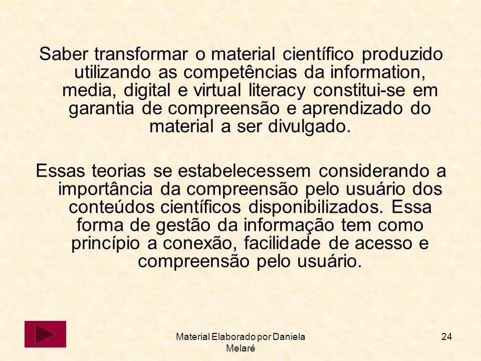 Material Elaborado por Daniela Melaré 24 Saber transformar o material científico produzido utilizando as competências da information, media, digital e