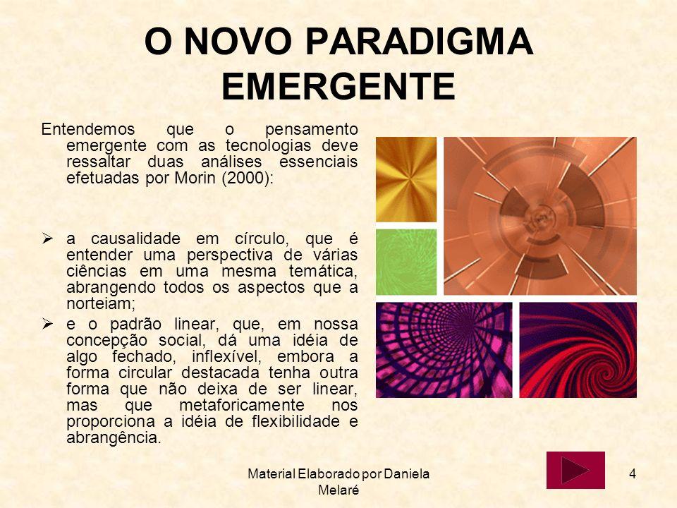 Material Elaborado por Daniela Melaré 4 O NOVO PARADIGMA EMERGENTE Entendemos que o pensamento emergente com as tecnologias deve ressaltar duas anális