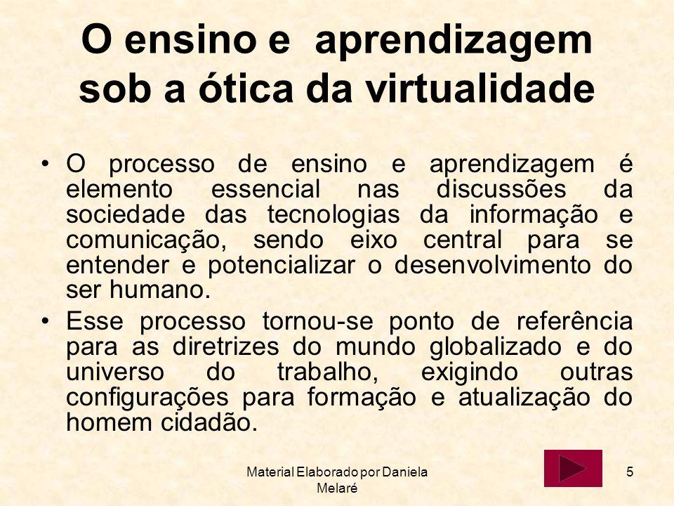 Material Elaborado por Daniela Melaré 5 O ensino e aprendizagem sob a ótica da virtualidade O processo de ensino e aprendizagem é elemento essencial n