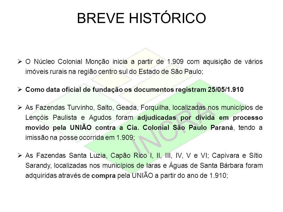 BREVE HISTÓRICO O Núcleo Colonial Monção inicia a partir de 1.909 com aquisição de vários imóveis rurais na região centro sul do Estado de São Paulo;