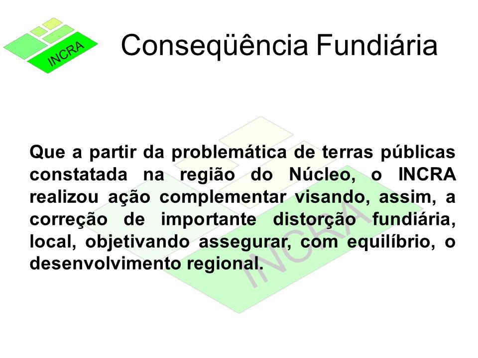 Conseqüência Fundiária Que a partir da problemática de terras públicas constatada na região do Núcleo, o INCRA realizou ação complementar visando, ass