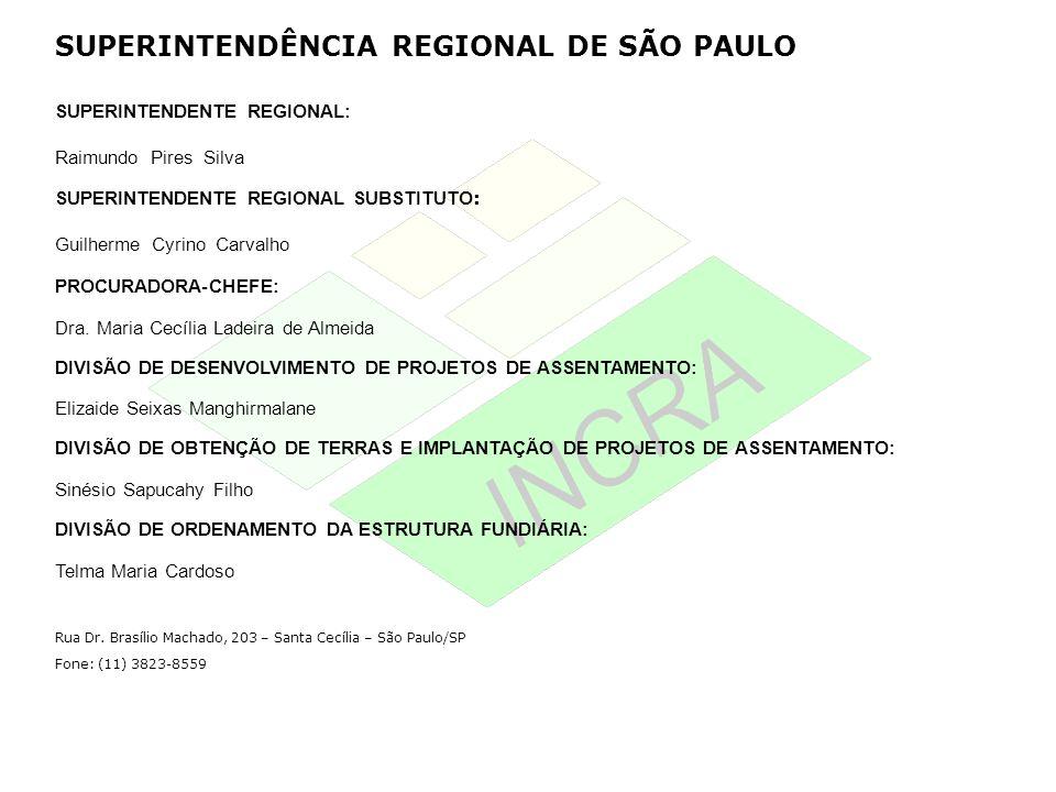 SUPERINTENDÊNCIA REGIONAL DE SÃO PAULO SUPERINTENDENTE REGIONAL: Raimundo Pires Silva SUPERINTENDENTE REGIONAL SUBSTITUTO : Guilherme Cyrino Carvalho
