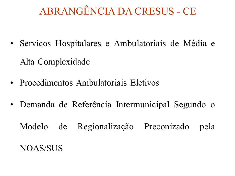 Serviços Hospitalares e Ambulatoriais de Média e Alta Complexidade Procedimentos Ambulatoriais Eletivos Demanda de Referência Intermunicipal Segundo o Modelo de Regionalização Preconizado pela NOAS/SUS ABRANGÊNCIA DA CRESUS - CE