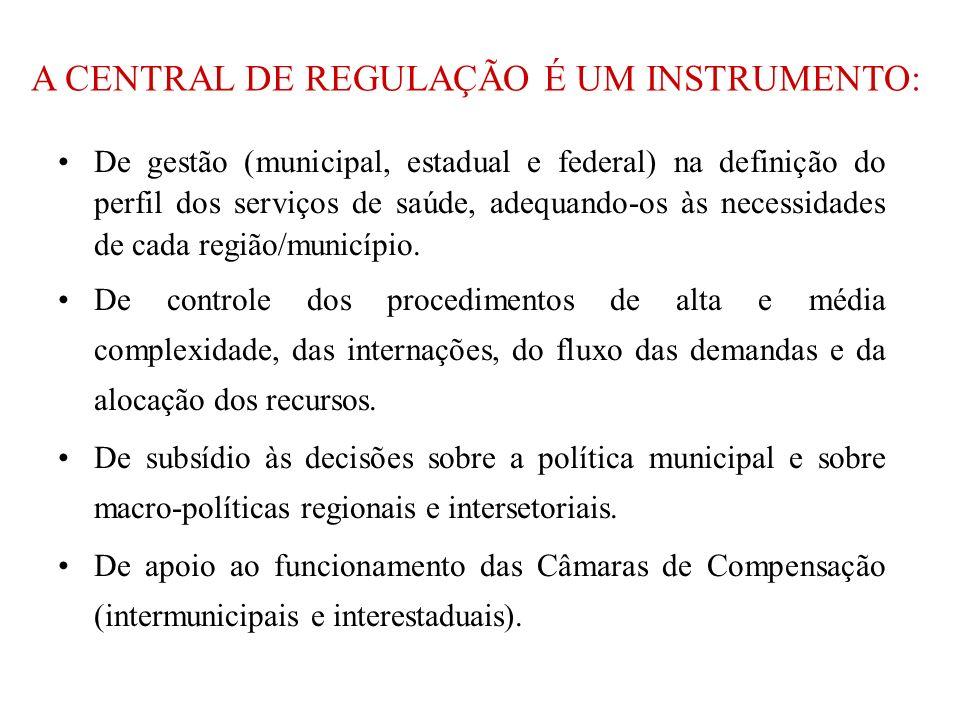 A CENTRAL DE REGULAÇÃO É UM INSTRUMENTO: De gestão (municipal, estadual e federal) na definição do perfil dos serviços de saúde, adequando-os às necessidades de cada região/município.