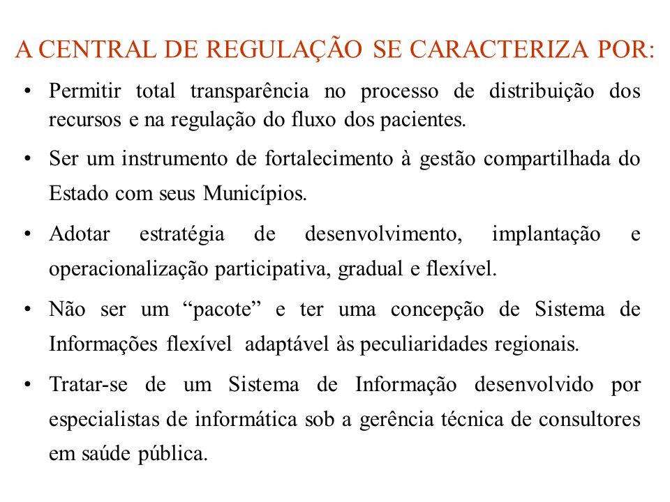 A CENTRAL DE REGULAÇÃO SE CARACTERIZA POR: Permitir total transparência no processo de distribuição dos recursos e na regulação do fluxo dos pacientes.