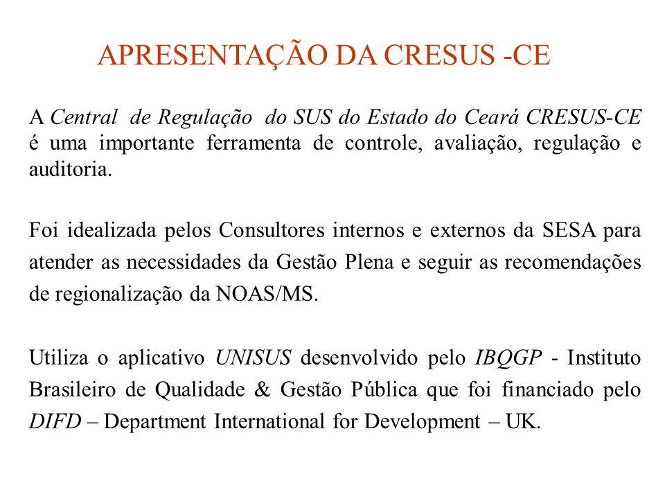 A Central de Regulação do SUS do Estado do Ceará CRESUS-CE é uma importante ferramenta de controle, avaliação, regulação e auditoria.
