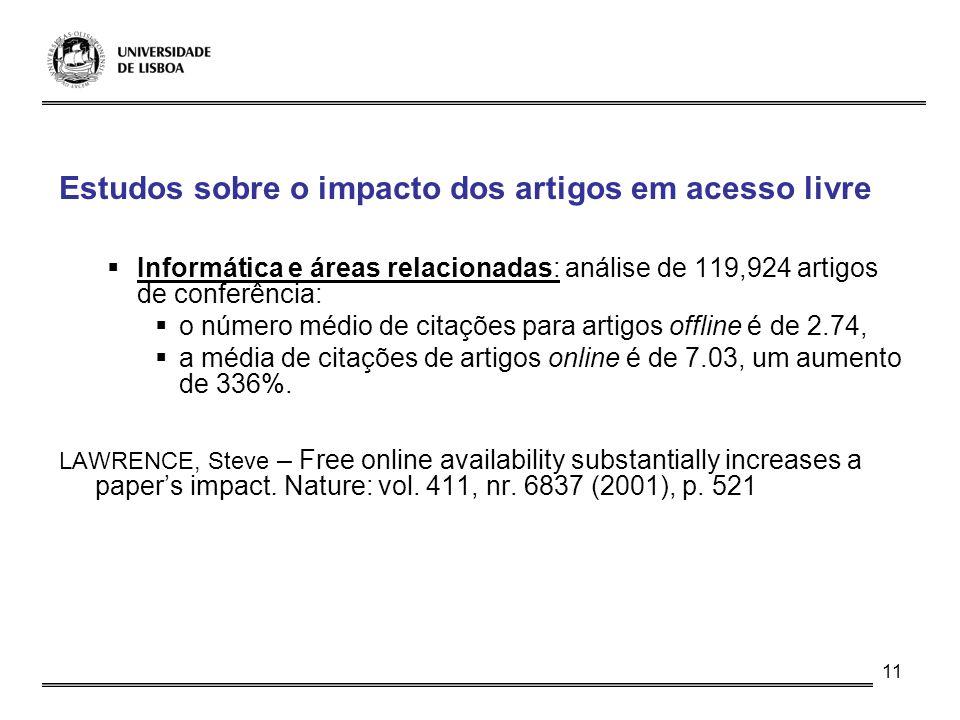 11 Estudos sobre o impacto dos artigos em acesso livre Informática e áreas relacionadas: análise de 119,924 artigos de conferência: o número médio de