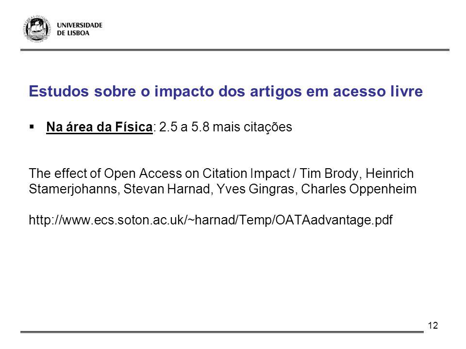 12 Estudos sobre o impacto dos artigos em acesso livre Na área da Física: 2.5 a 5.8 mais citações The effect of Open Access on Citation Impact / Tim B
